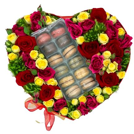 Spray Roses and Macarons Box