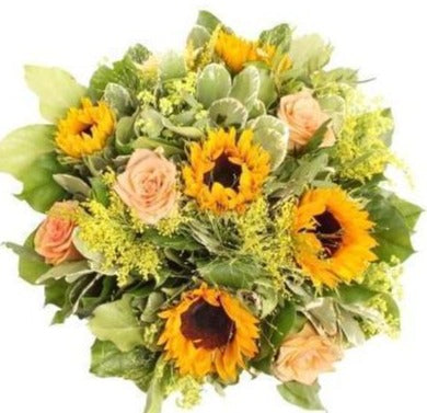 Sunflowers and Peach Roses