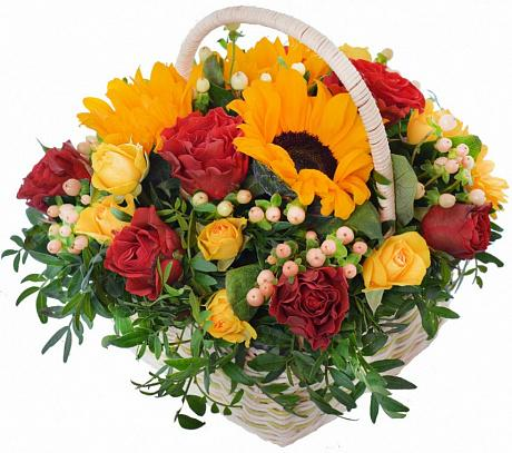 Sunflowers and Roses Basket