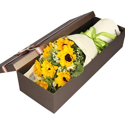 Sunflowers with Greenery in Luxury Box