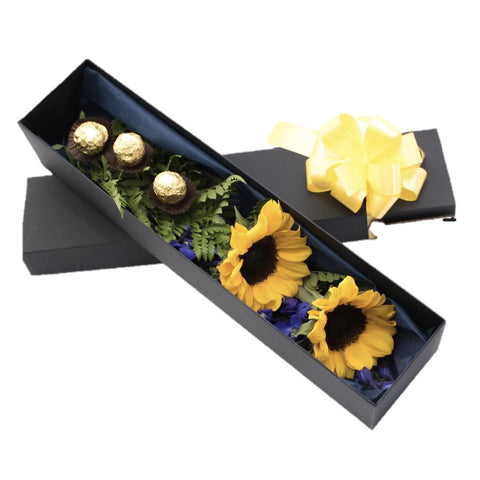Sunflowers with Sweets in Luxury Box