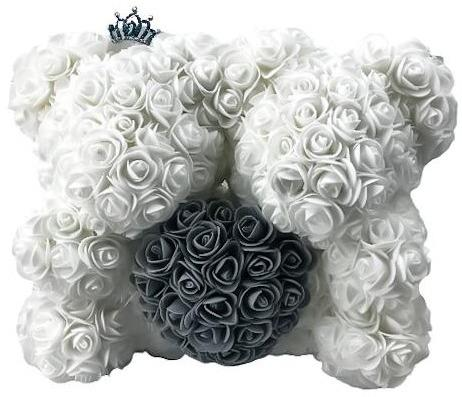 Twin Luxury White and Grey Rose Teddy Bear
