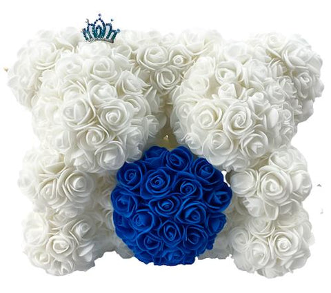 Twin Luxury White and Navy Rose Teddy Bear
