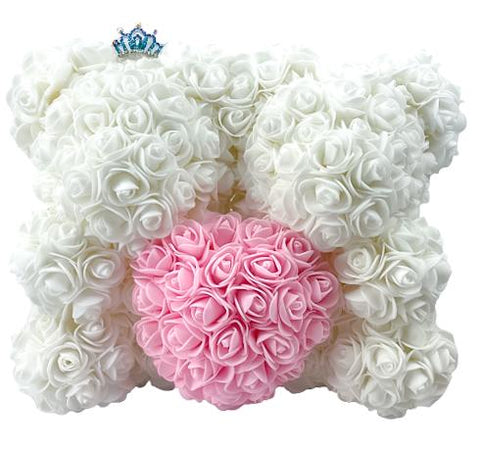 Twin Luxury White and Pink Rose Teddy Bear
