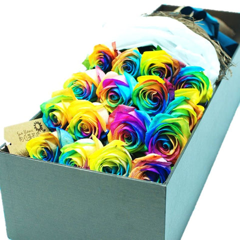 Two Dozen Rainbow Roses Luxury Box