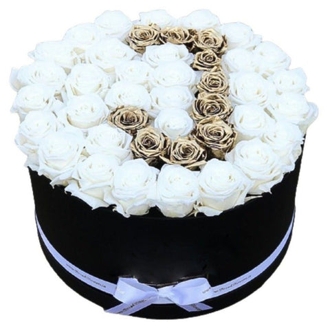 White and Gold Roses Initial Box