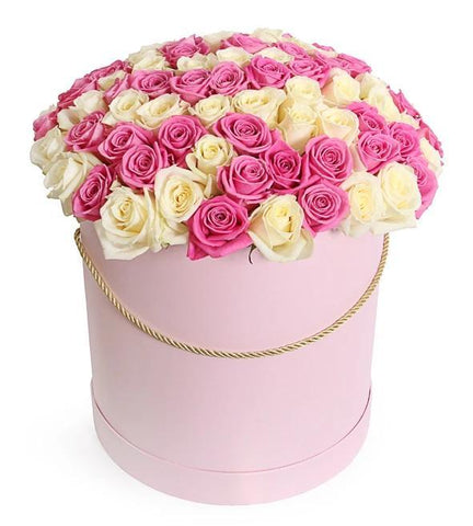 White and Pink Roses Hat Box