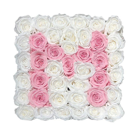 White and Pink Roses Initial