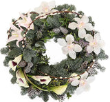 White Cymbidium Orchids Holiday Wreath