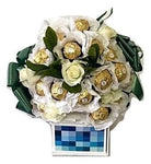 White Ferrero Rocher Chocolate Bouquet with Roses
