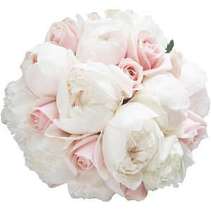 White Peonies and Pink Roses Bouquet