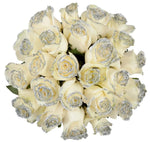 White Rose Silver Glitter Bouquet