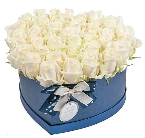 White Roses Heart Box