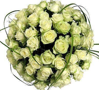 White Roses with Bear Grass