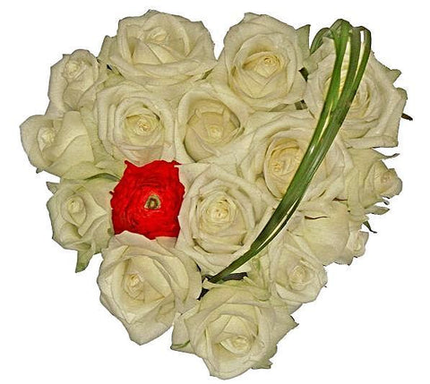 White Roses with Red Accent Heart