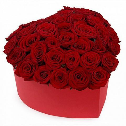 With Love Red Roses Heart Box