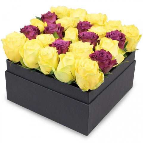Yellow & Cerise Roses Signature Box