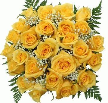 Yellow Roses with Gypsophila Bouquet