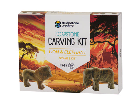 Double Kit: Lion & Elephant soapstone carving kit