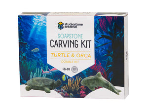 Double Kit: Turtle & Orca soapstone carving kit