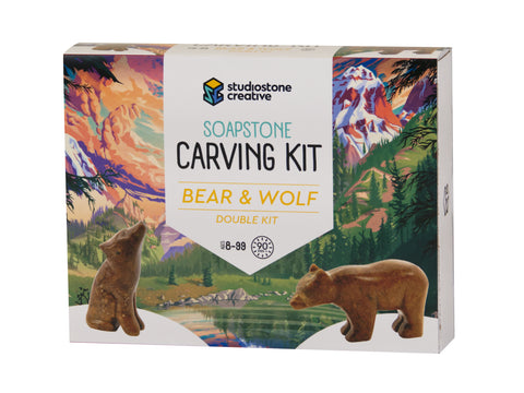 Double Kit: Bear & Wolf soapstone carving kit