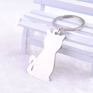 Metal Cat Keychain Silver Plated