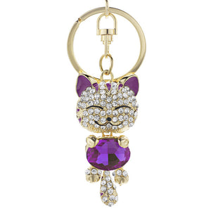 Cute Cat Crystal Rhinestone Keyrings
