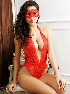 Red lace Erotic lingerie Costume with mask