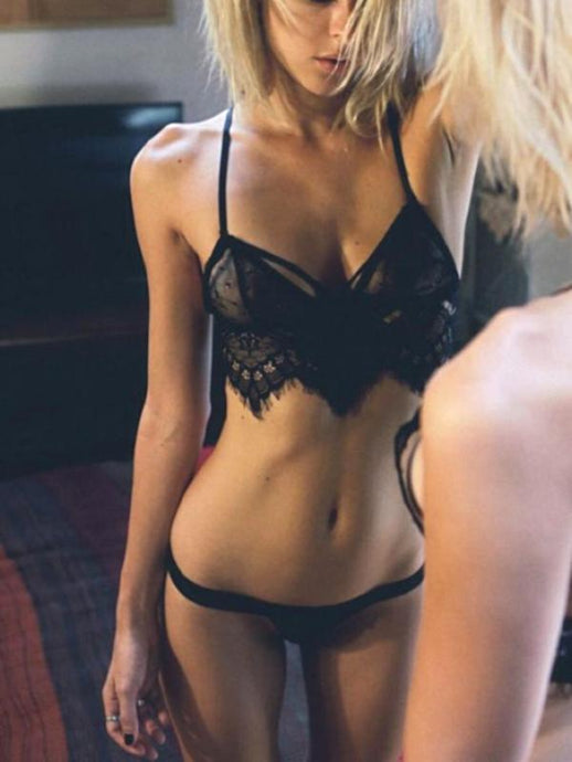 Sexy Lace Hollow Out Strappy Lingerie Set