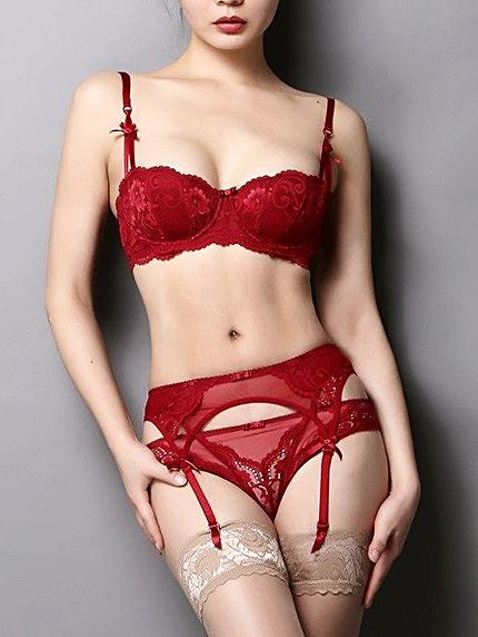 Elegance Bra & Panties lingerie with Garter set