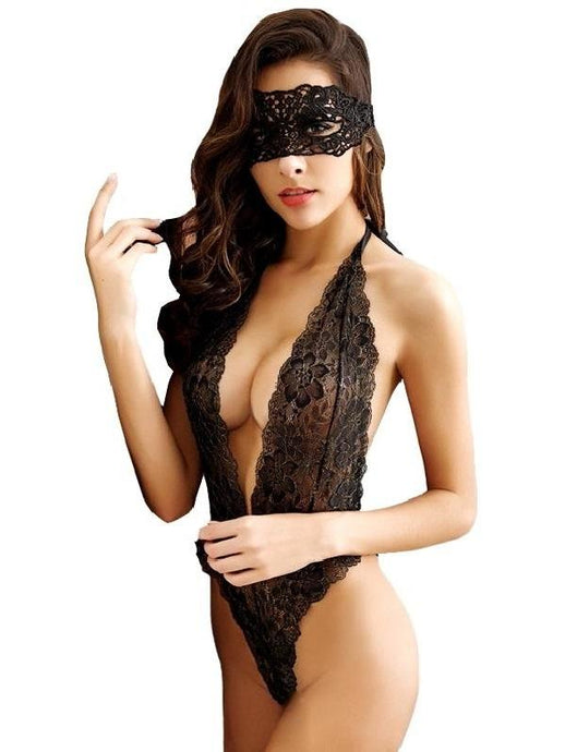 Black lace Erotic lingerie Costume with mask