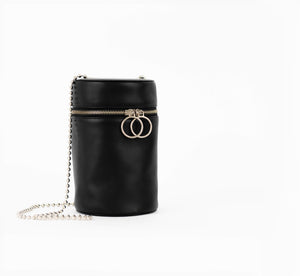 No. 10 Cylinder Black Leather with Chain