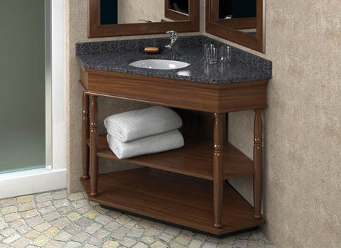 Hotelure Corner Vanity, Brown with Grey Marble