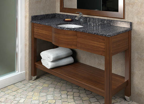 Hotelure Rectangle Vanity, Brown with Grey Marble