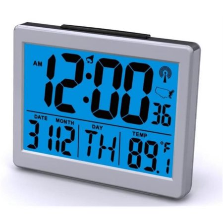 Atomic LCD Desk Clock with Thermometer, Day and Super Bright Light on Demand