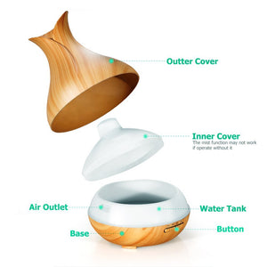 Va-Pure 400ml Cool Mist Humidifier Ultrasonic Aroma Essential Oil Diffuser – Wood Grain