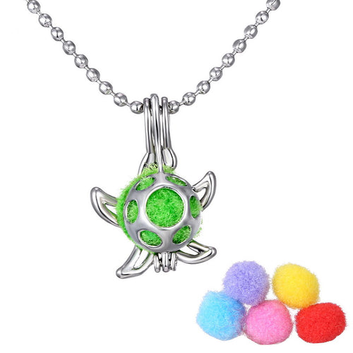 Open Antique Vintage Lockets Essential Oil Diffuser Necklace starfish Perfume Aromatherapy Lockets Necklace pendant For Gifts