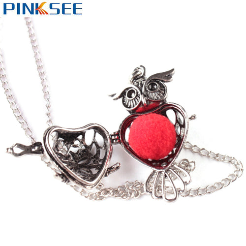 New Fashion Locket Pendant Necklace Retro Hollow out Owl shaped Essential Oils Diffuser Aromatherapy Necklace Jewelry