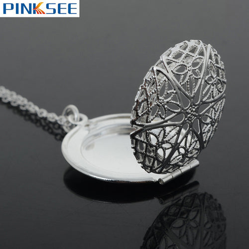 2017 Women Silver Plated Aromatherapy Essential Oil Diffuser Locket Necklace Round Perfume Long Pendant Necklace Jewelry