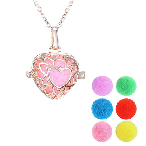Aromatherapy Locket Essential Oil Felt Balls Diffuser Cage Filigree Perfume Hollow out Locket Necklaces For women Gift Heart