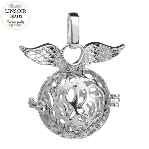 LINSOIR 2pcs Essential Oil Diffuser Perfume Locket Pendant Cage Rhodium Color Hollow Ball Necklace Pendant Jewelry Making F5369
