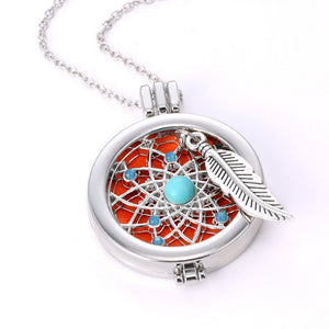 Necklace Women Aromatherapy Essential oil Diffuser Locket Pendant with Chain Washable Pads Dream Catcher Pendant Dreamcatcher
