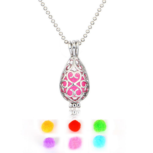 Silver Plated Fragrance Water drop Necklace pendant DIY Necklaces for women Essential Oil Aromatherapy Diffuser Locket