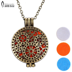 Diffuser gear shaped Necklace Perfume Pendant Necklace Aromatherapy locket pendant necklace Stainless steel Essential Oil