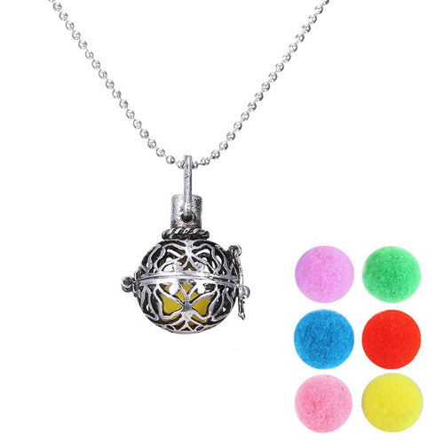 Round Hollow out Photo Frame Locket necklace charms pendant for felt pad Fragrance Essential Oil Aromatherapy pendant necklace