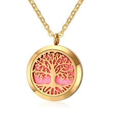 Meaeguet Lucky Locket Hollow Necklace Round Tree of Life Pendant Necklace Aromatherapy Essential Oil Diffuser Women Jewelry