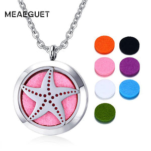 Meaeguet Star Shaped Pendant Necklace Hollow Locket Stainless Steel Necklace Aromatherapy Essential Oil Diffuser Women Jewelry