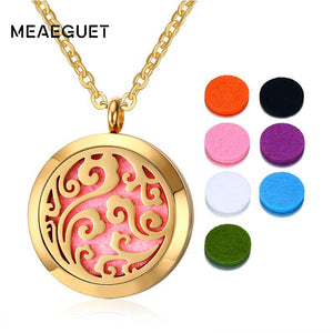 Meaeguet Stainless Steel Locket Necklace Round Tree of Life Pendant Necklace Aromatherapy Essential Oil Diffuser Women Jewelry