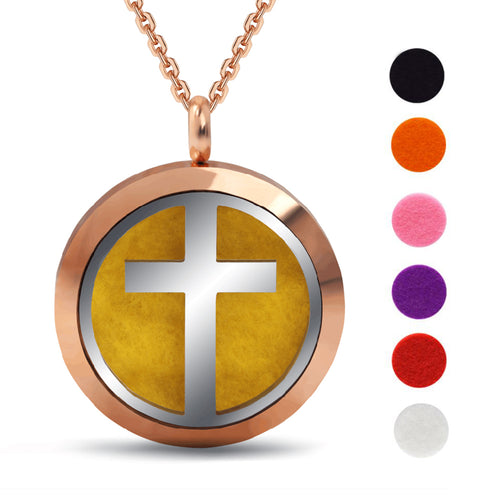 Round Stainless Steel Cross Perfume Locket Essential Oil Diffuser Necklace Aromatherapy Pendant Necklace With 6 Pads