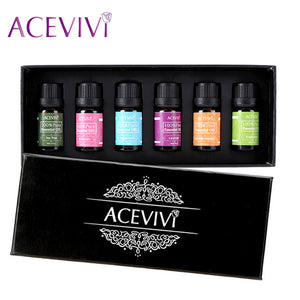 ACEVIVI Brand 6Pcs/set 10ml/33oz Gift Box Package 100% Pure Essential Oil For Spa Massage oil Bath oil Anti Wrinkle Anti Aging